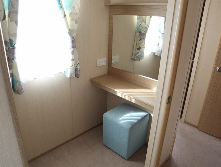 Luxury 6 Berth Caravan double bedroom vanity
