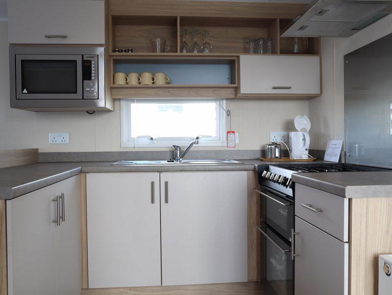 Luxury 8 Berth Caravan kitchen