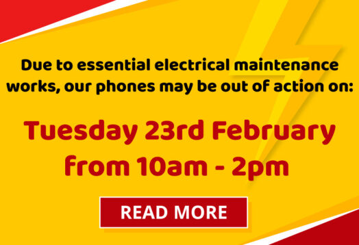 Due to essential electrical maintenance works, our phones may be out of action on Tuesday 23rd February from 10am - 2pm